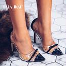 LALA IKAI PVC 女性 スティレット パッチワーク 防水 スリップ 女性 リベット 透明 靴 パンプス ハイヒール クリア 3color スタッズ ポインテッドトゥ クリアパンプス ピン