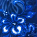 ネイビーハイビスカス藍染め風