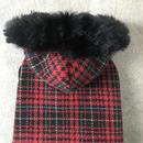ORIGINAL  fur hoodie . [ red L , XL ]