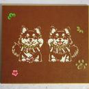 切り絵色紙 ロングコートチワワ招き犬(色紙立て無し)