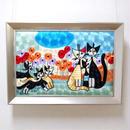 刺繍絵画(48.5×68.8) ロジーナ「子猫とおすまし」 商品番号:is1087-rw-35