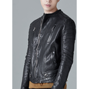 MINIMAL SNAP BASIC LEATHER JACKET