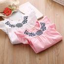 フリル袖刺繍ワンピース