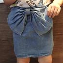 デニム×リボンミニスカート