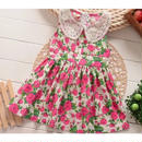 ノースリーブ襟付き花柄ワンピース