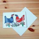 インド先住民族アートギフトカード(定形)ゴンド画・2羽の鳥
