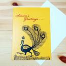 インド先住民族アートギフトカード(大きめ)ワルリ画・クジャクイエロー