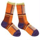 retro check socks / オレンジ