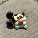 "1970s ""ZUNI""Channel inlay  Mickey Face Motif Ring"
