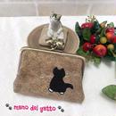 イラスト刺繍のカードケース&小さなお財布【黒白にゃんこ】