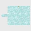 名入れオプション可!手帳型・薔薇柄スマフォケース・ティファニーブルー色