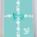 白イニシャル入り・ラインレース&リボン柄♡パスポートケース(ティファニーブルー)