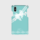 名入れ可!Android/ iphone Plusティファニーブルーのガーリーレースリボン柄♡スマフォケース・♪Android&iPhone 6Plus/6sPlus/7Plus/8Plus対応