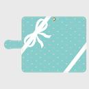 iphone &Android S/M★名入れオプション可!手帳型コーナリボン&ジュエリー柄スマフォケース・ティファニーブルー色