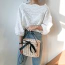 透け編みパンチングレースカットソー