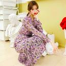 【2色】花柄ロングシフォンマキシ丈ワンピース