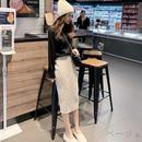 【3色】ケーブル編みミモレ丈ニットタイトスカート