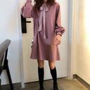 【2色】フロントリボンチュニックワンピース