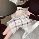 【2色】チェック柄ハイウエストミモレ丈スカート