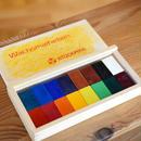 〈2才-〉【クレヨン】みつろうブロッククレヨン 16色木箱