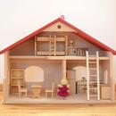 〈3才-〉【ドールハウスセット】庭付き人形の家+家具+女の子