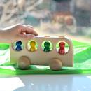 【1才〜】【押す車・入れる・想像】4人のりバス 白木