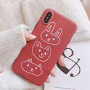 【M943】★ iPhone 6 / 6sPlus / 7 / 7Plus / 8 / 8Plus / X/XS/XR/Xs Max ★ シェルカバーケース red rabbit 🐰
