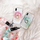 【M505】♡ iPhone 6 / 6s /6Plus / 6sPlus / 7 / 7Plus / 8 / 8Plus / X ♡ シェルカバー ケース リング付きライン ストラップ