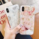 【M363】★iPhone 6/6s/6Plus/6sPlus/7/7Plus/8/8Plus /X ★ iPhoneケース つやつや大理石 マーブル ゴールド 金箔