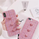 Pink Check Heart Button iPhone case