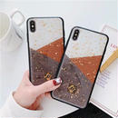 Grey Brown Block Glitter iPhone case