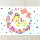 ポストカード〈バラ売り〉 リースうさぎ_PC-Y125