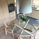 【ダイニングテーブル】木とガラスを組合せたラウンドテーブル(イタリア製)