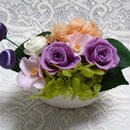 プリザーブドフラワー・サテンピックで和風に飾る紫のバラ