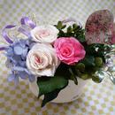 紫のアジサイ・きらめくハート付き