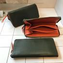 ラウンドジップ薄型長財布 緑×オレンジ