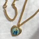 45 blue heart  medal vintage chain choker