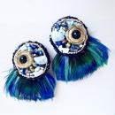 feather earrings〈peafowl〉 EA160105F-PF