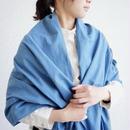 エシカルヘンプ平織ストール 正藍染め藍色