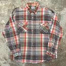 70's OSH KOSH Heavy Flannel Shirt GREY×RED