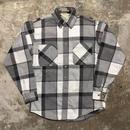 80's ST JOHN'S BAY Heavy Flannel Shirt GREY×WHITE