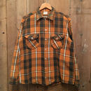 60's OSH KOSH Heavy Flannel Shirt ORANGE×BLACK