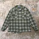 60's PENDLETON Wool Board Shirt GREEN×WHITE
