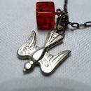 Vintage Bakelite Dice and Bird Necklace