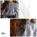 即納【110〜150cm】2way flower embroidery blouse