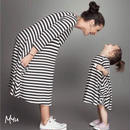 即納【親子 Mom】Border A flare dress