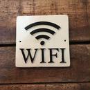 """スクエアサイン """"wi-fi"""" アイボリー"""