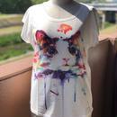 ☆難あり 水彩画風ネコちゃんTシャツ(半袖)