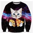 ピザを食べるねこTシャツ