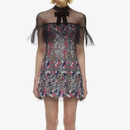 Multi Colored Flower Lace Dress With  See-Though Organza (リボン付きマルチカラーフラワーレースワンピース)